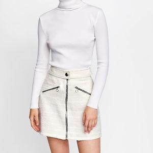 Zara Skirts - Zara Size L White Tweed Mini Skirt
